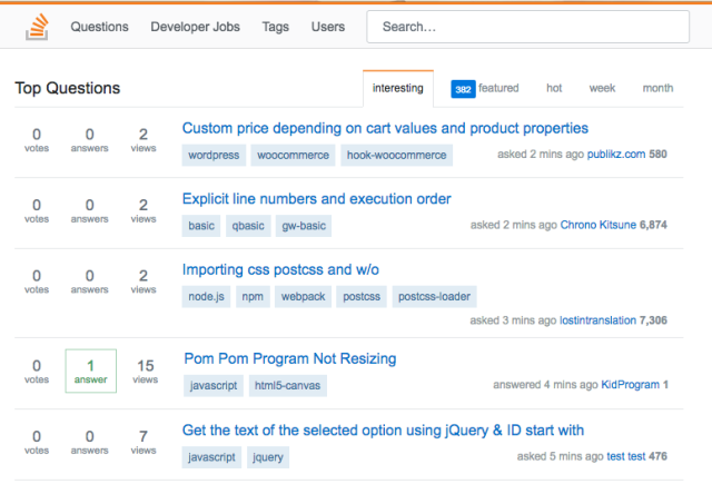 Picture of Stack Overflow page